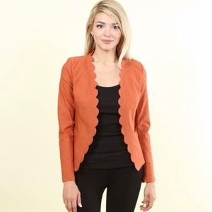 Rust Fitted Scalloped Blazer